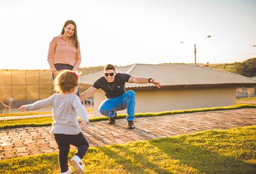 Família se divertindo no residencial
